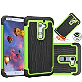 LG G2 Case,MANDYCOWRY Solid Shockproof  Durable Luxury Stylish Design Dual Layer Protection Defender Cover for LG G2(Black/Green)