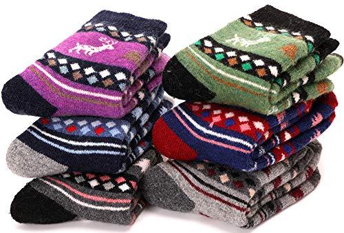 (Children Wool Socks For Boy Girl Kid Toddler Thick Thermal Warm Cotton Winter Crew Socks 6 Pack (Christmas Deer, 1-3Y))