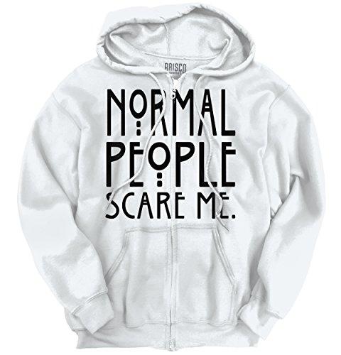 Brisco Brands Normal People Scare Me Horror Cool Gift TV Edgy Funny Monster Zipper Hoodie (People Mens Sweatshirt)