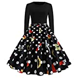 POIUDE Christmas Dresses for Women Sale Ladies Vintage Round Neck Polka Dot Butterfly Print Party Prom Swing Dress(Red, Large)