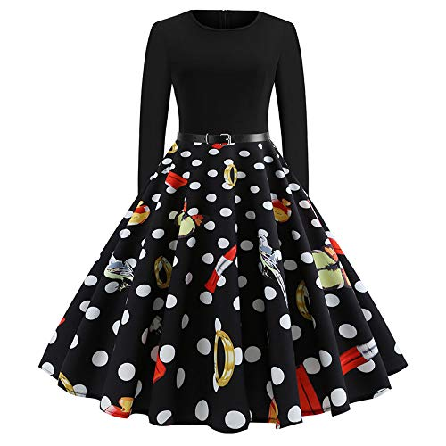 Sunyastor Women Dresses,Elegant Women's Vintage Print Long Sleeve Pleated Dresses Christmas Evening Party Swing Dress