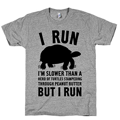 Cotton I Run Slower Than A Herd Of Turtles Crewneck T-Shirt Heather Gray, Large