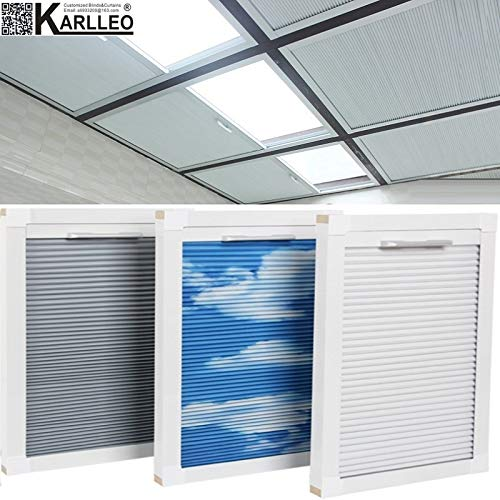 "Manual/Motorized Skylight Roof Window Cellular Honeycomb Blackout Blinds Curtain,Website Price=(1pc,Manual Control,Size:39"" W x 39"" L) Contact Us Customize Size,Or Motorized Power110-240V"