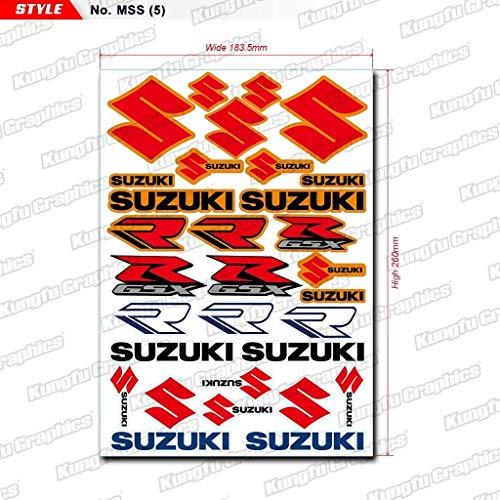(Kungfu Graphics Suzuki S R GSX Micro Sponsor Logo Racing Sticker Sheet Universal (7.2x 10.2 inch), Red)