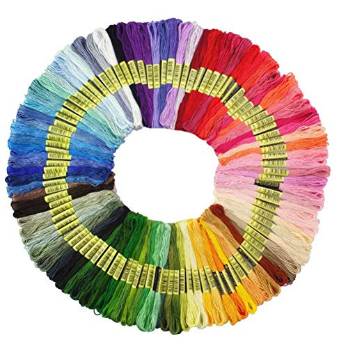Premium Rainbow Color Embroidery Floss - Cross Stitch Threads - Friendship Bracelets Floss - Crafts Floss - 100 Skeins Per Pack ()