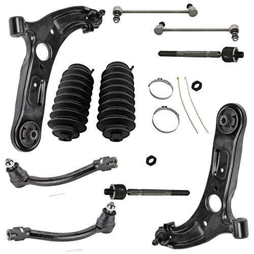 Detroit Axle - 10PC Front Lower Control Arms w/Sway Bars, Inner Outer Tie Rods w/Rack Boots for 2011-2013 Hyundai Elantra - [2012-2017 Veloster]