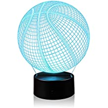 3D Illusion Basketball Night Light Lamp with 7 Color Change, Touch Base, Power by AA Batteries