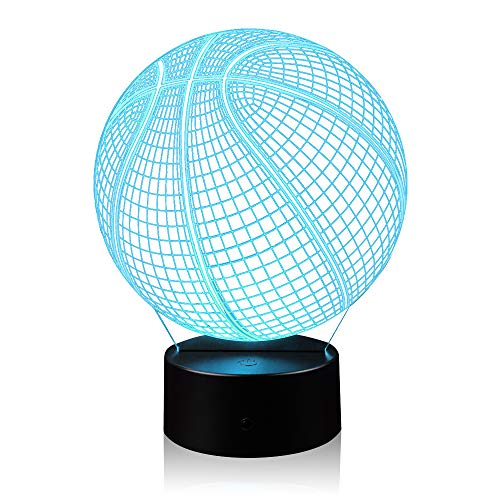 - 3D Illusion Basketball Night Light Lamp with 7 Color Change, Touch Base, Power by AA Batteries
