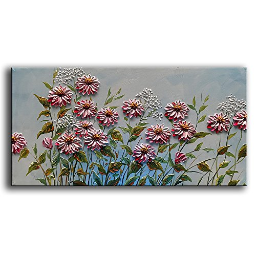YaSheng Art -Oil Painting on canvas Palette Knife pink Blooms Contemporary Impasto Floral Modern Landscape Abstract Paintings Home Decor Wall Art for living room Ready to hang (24x48inch) -