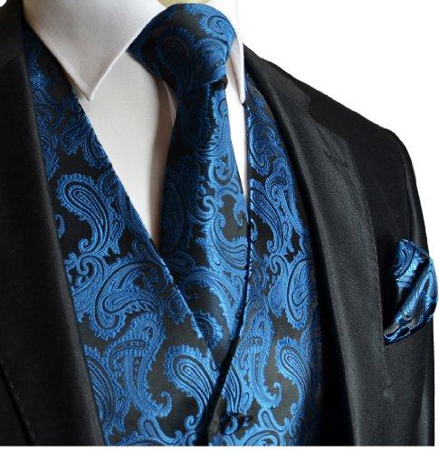 Wedding Vest Set Metallic Blue Paisley 3pcs Tuxedo Vest + Necktie + Handkerchief (Metallic Silk Suit)