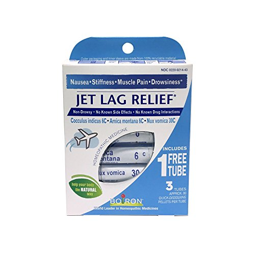 (Boiron Jet Lag Relief, 3 Pack of 80-Pellet Tubes, Homeopathic Medicine to Relieve Nausea, Stiffness, Muscle Pain, Drowsiness)