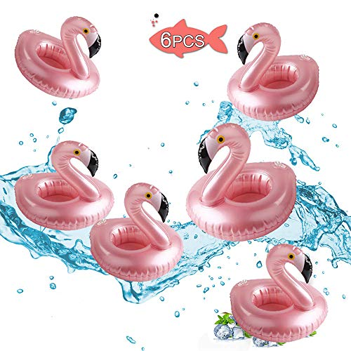 Flamingo Drink Holder (Brave Hours 6 Pack Drink Floats Cute Animal Pool Drink Holder Set Reusable Inflatable Float Cup Coasters for Summer Pool Party,6)