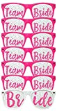 ADJOY Team Bride Wedding Party Sunglasses for Photo Props - Bachelorette Party favors for Birde and Team Bride (Hot Pink)