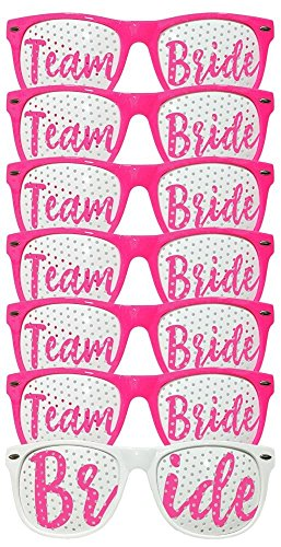 Bachelorette Party Wedding Sunglasses Set for Bridal Party - Bridal Party Favors - Fun Photo Props Novelty Ideas (Team Bride 7pcs Set - Hot Pink) (Favors Wedding Novelty)