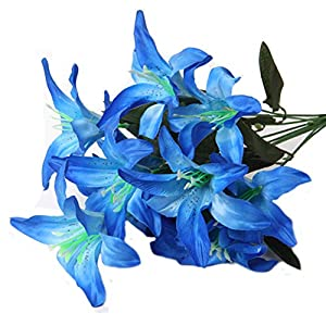 Artfen Artificial Lily 10 Heads Fake Lily Artificial Flower Wedding Bouquet Party Decor Bouquet Home Hotel Office Garden Craft Art Decor 55