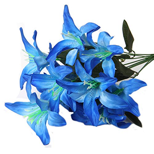 (Artfen Artificial Lily 10 Heads Fake Lily Artificial Flower Wedding Party Decor Bouquet Home Hotel Office Garden Craft Art Decor)
