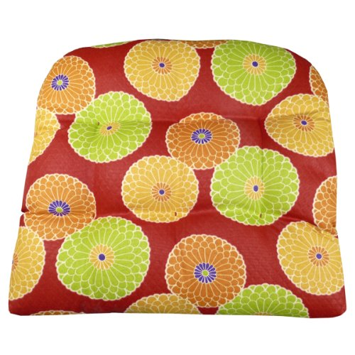 - Barnett - Garden Collection Large Patio Chair Cushion - Diamond Daze Quilted Red Chrysanthemums Floral - Size Large Indoor/Outdoor: Mildew Resistant, Fade Resistant
