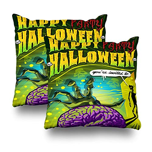 LALILO Set of 2 Throw Pillow Covers, Invite Halloween Party Zombie Brain Backdrop Banner Double-Sided Pattern for Sofa Cushion Cover Couch Decoration Home Gift Bed Pillowcase 18x18 inch -