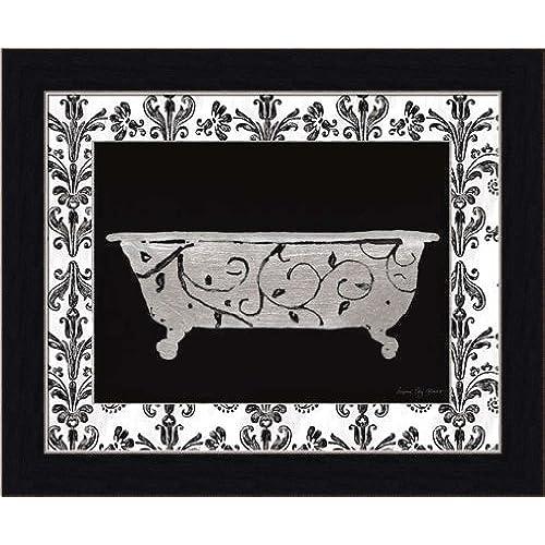 Paris Hotel Tub III By Susan Eby Glass Black White Bathroom Wall Art Print  Framed Décor