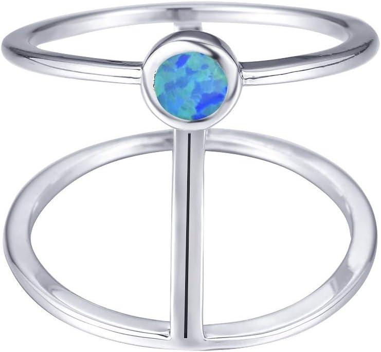 Anillo Plata Ley 925 Mujer, Azul Redondo Piedra Preciosa Australiana Adornada Línea De Dos Pisos Moda Novedad Pareja Anillo De Dedo Masculino Femenino, Compromiso De Aniversario De Bodas Regalo De F
