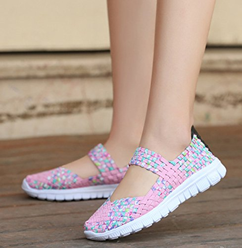 Women's Loafers Fashion Woven CAMSSOO Mesh Slip Breathable Mary on Shoes Pink Walking Sneakers Stretch Janes XIxgTdqwg