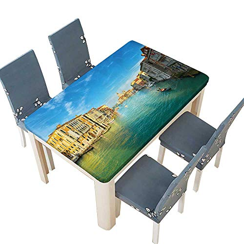 (PINAFORE Polyester Venice Table Cover for Dining Room and Party W73 x L112 INCH (Elastic Edge))