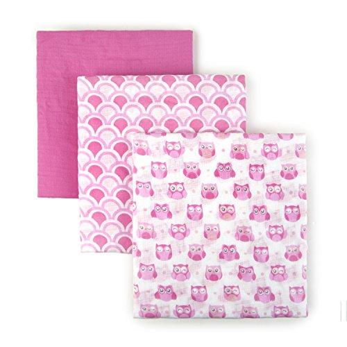 (Tadpoles S/3 Muslin Receiving Blankets Owl, Pink,)