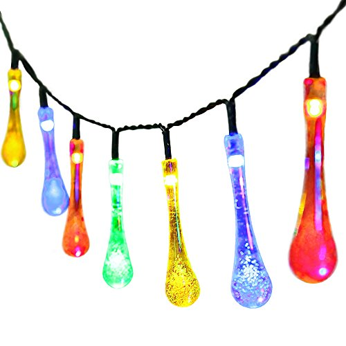 easyDecor Solar Powered String Lights 30 LED 21ft 8 Modes Water Drop Fairy Christmas String Light for Outdoor Party Wedding Patio Garden Holiday Decorations (Multi Color)
