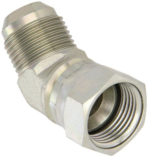 (Eaton Aeroquip 2070-12-12S 45 Degree Swivel Nut Elbow, JIC 37° End Types, Carbon Steel, 3/4 JIC(f) x 3/4 JIC(m) End Size, 3/4