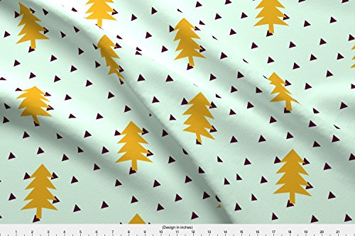 Spoonflower trees Fabric Triangles Pine Tree Nature Decorative Christmas Woodland Abstract Lovers Kids Wallpaper by Ajoyfulriot Printed on Minky Fabric by the Yard by