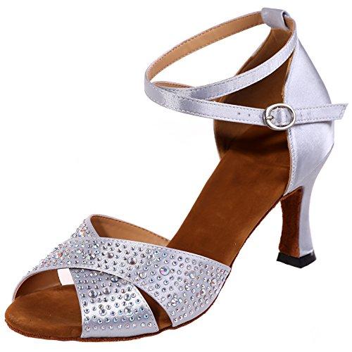 Loslandifen Femmes Peep Toe Incrusté De Cristaux Chaussures De Danse Criss Bracelet Croisé Salsa Tango Latin Sandales Argent-a