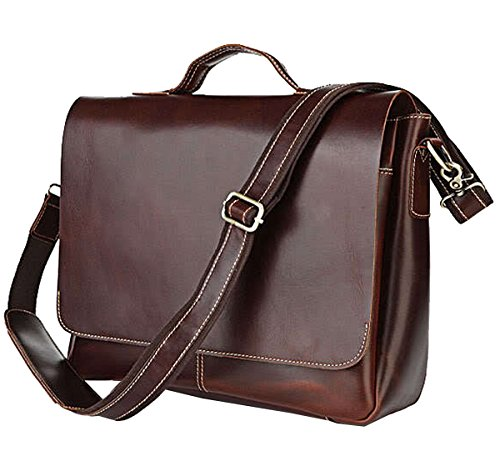 Berchirly Retro Genuine Leather Messenger Men Shoulder Bag Totes Fits 15inch Laptop Mac