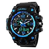 Bounabay Dual Dial Analog Digital Quartz Sport Watch Multifunction Shock Resistant Sport Watches for Men
