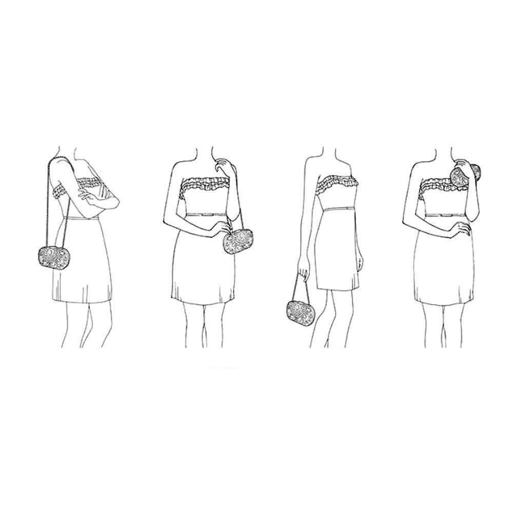 YAO lyxig mocka aftonväska tofs aftonklänning kuvertväska bankett festväska, jul kväll paket (färg: A3) A3