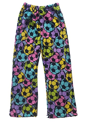 fan products of Confetti and Friends Fuzzy Plush Pajama Pants - Rainbow Soccer - Junior