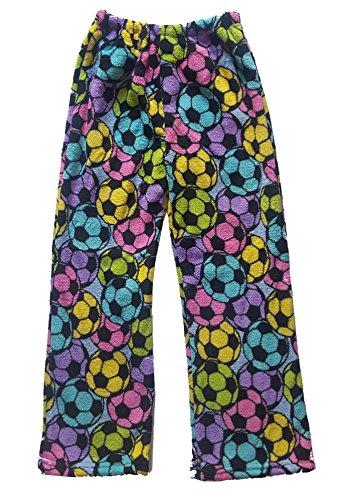 (Confetti and Friends Fuzzy Plush Pants - Rainbow Soccer - 10/12 )
