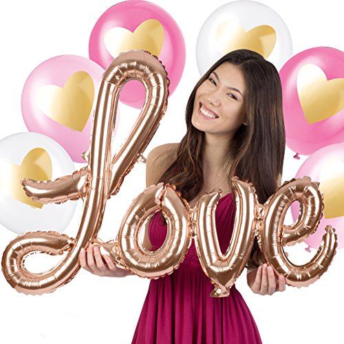 Love Balloon Bouquet (7ct Large Rose Gold LOVE Mylar Letter Balloon & Matte Metallic Bridal Shower Balloon Bouquet)