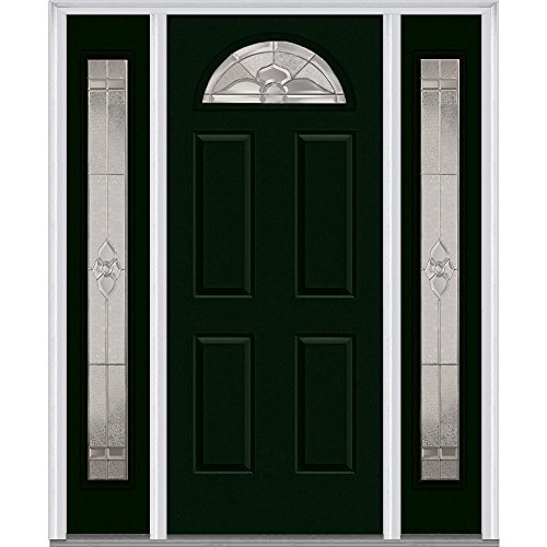 National Door Company Z014044L Fiberglass Smooth, Hunter Green, Left Hand In-swing, Exterior Prehung Door, Master Nouveau, 1/4 Lite 4-Panel, 36'' x 80'' with 12'' Sidelites by National Door Company