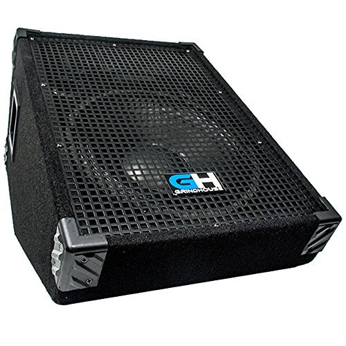 Grindhouse Speakers - GH12M - 12 Inch Passive Wedge Floor / Stage Monitor  350 Watts RMS - PA/DJ Stage, Studio, Live Sound 10 Inch Monitor