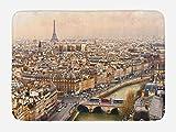 Ambesonne Eiffel Tower Bath Mat, Paris Streets Busy Day Buildings Bridge River City Symbol Horizon Photography Print, Plush Bathroom Decor Mat with Non Slip Backing, 29.5 W X 17.5 W Inches, Beige