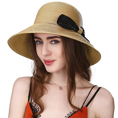 Siggi Womens Straw Packable Summer Sun Hats Wide Brim UV Protection Beach Accessories Beige