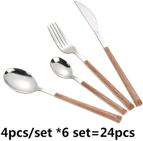 RMEX Juego de vajilla Creativo de 24 Piezas Juego de Cubiertos de Cocina de Acero Inoxidable Cucharas de Tenedor de Mesa de Mango de Madera de imitación, 24 Piezas: Amazon.es: Hogar