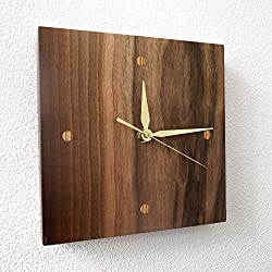 Unique Wood Wall Clock 8 Inch Designer Contemporary Natural Wooden Clocks Walnut Wood Frame Mute Silent Quartz Movement Small Watch Living Room Bedroom Housewarming Gift