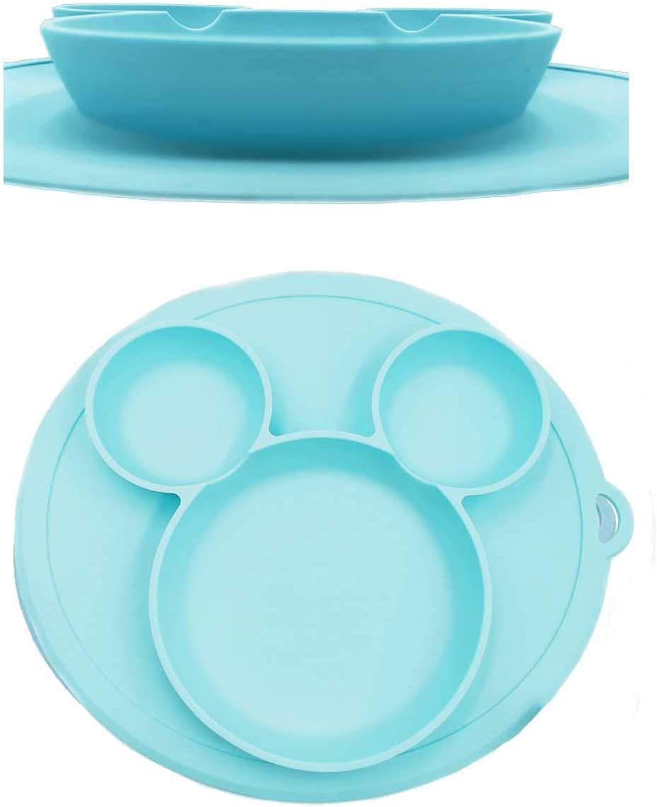 MMBABY Silicone Child Feeding Plate with Suction Cup Fits Most Highchair Trays Baby Placemat Blue