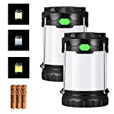 LED Camping Lantern,2 Pack Antowin Outdoor LED Lantern Flashlights Camping Hand Held Flashlights with 6 AA Batteries,Camping Gear Equipment for Emergency, Hurricane, Outage with 3 LED Modes(White, Warm, Mixture Light)