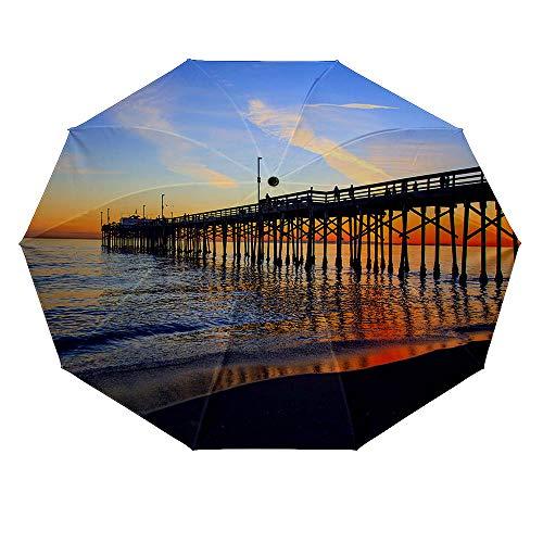 (10 ribs multi-function automatic on/off - sun protection - rainproof - windproof umbrella, theme - Balboa Pier Orange County California )