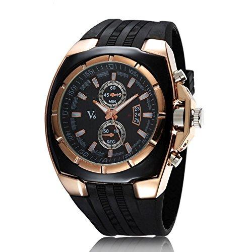 Unique correa reloj de pulsera Fashion correa de silicona reloj de pulsera Mejores venta Fake Dos Oro Rosa Shell Blackface: Amazon.es: Relojes