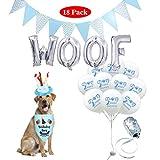Formemory 18Pcs Dog Birthday Woof Balloons, Dog Bandana Cake Hat Triangle Banner for Pet Boy Birthday Decorations Blue