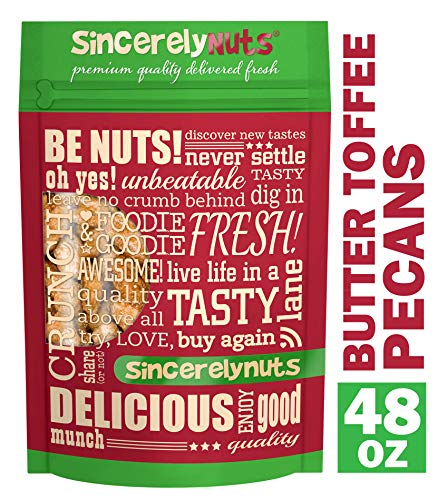 (Sincerely Nuts - Butter Toffee Pecans | Three Lb. Bag | Shelled Coated Whole Pecans | Delicious Healthy Gluten Free Snack Food | On the Go Snacking, Parties, Kids Lunches | Fresh Resealable Bag)