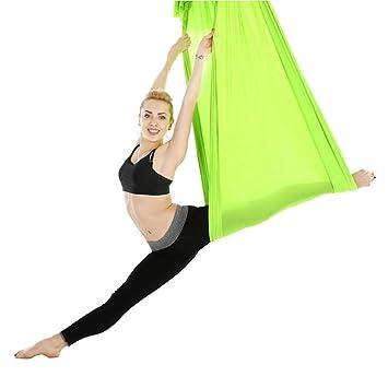 Tbest Aerial Yoga Swing Set 2.8m Durable Elastic Aerial Yoga Hammock Swing Pilates Yoga Flying Swing Fitness Training Accessory